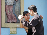 Tango-dancing street performers in La Boca, Buenos Aires