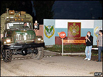 Russian army lorry leaves base in Batumi
