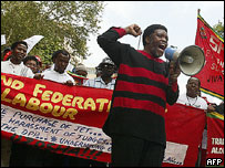 Trade union demonstration in Mbabane, 2005