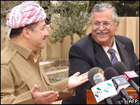 KDP's Massoud Barzani (left) and PUK's Jalal Talabani (right), March 2005