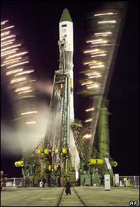 Russian Soyuz-U rocket on launch pad at Baikonur cosmodrome, 2005