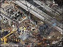 Aftermath of the fire as seen from the air