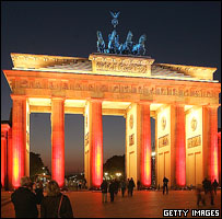 Brandenburg Gate, Berlin, during Festival of Lights, October 2005