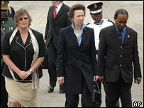 Left to right: Governor Debra Barnes Jones, Princess Anne, Chief Minister John Osborne