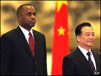 Dominican PM Roosevelt Skerrit (left) with Chinese PM Wen Jiabao, Beijing, 2005