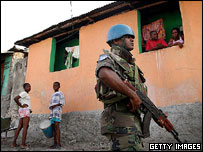 Sri Lankan UN soldier patrols street in Port-au-Prince