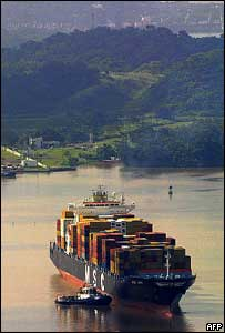 Container ship on Miraflores lake, Panama Canal