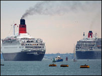 The Queen Mary 2, right, and former flagship, the QE2