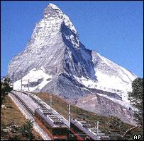 Matterhorn in Swiss Alps, with Gornergrat-Monte Rosa railway in foreground