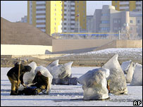 Ice fishing on the Ishim river, Astana