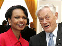 US Secretary of State Condoleezza Rice, left, and Lithuanian President Valdas Adamkus