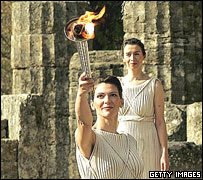 Lighting of Olympic flame for Turin 2006 Winter Games, ancient Olympia, 2005