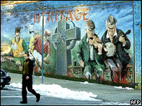 Mural in New York depicting scenes of Irish life