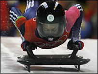 Britain's Shelley Rudman won silver in the women's skeleton in Turin