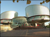 Exterior, European Court of Human Rights, Strasbourg; building designed by Richard Rogers