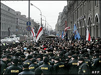Police block opposition demonstrators protesting after March 2006 elections