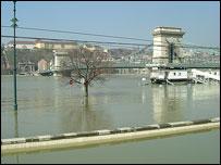Danube floods in Budapest