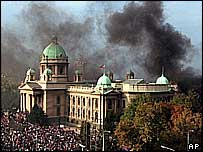 Belgrade - storming of parliament