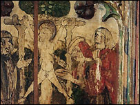 Screen showing the alleged murder by Jews of William of Norwich in 1144