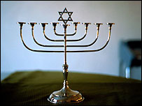 A menorah, the holy candelabrum that is seen as a symbol of Judaism