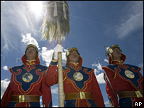 Mongolian guards in ceremonial outfit on July 10
