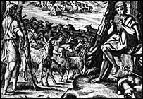 Engraving of pastoral scene