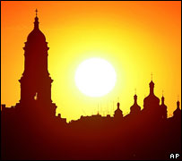 Sunset over Monastery of the Caves, Kiev