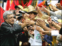 Defeated presidential candidate Andres Manuel Lopez Obrador and supporters