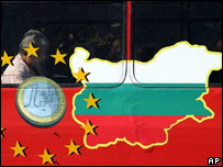 Bus window showing EU insignia and map of Bulgaria