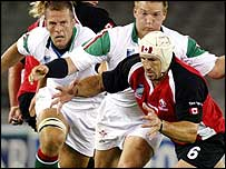 Canada legend Al Charron in action against Wales at the 2003 World Cup