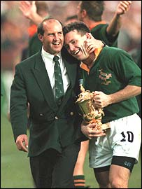 South Africa celebrate their 1995 World Cup win