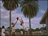 Enjoying rugby on a Fiji beach