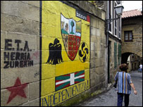 Basque separatist mural, Spanish Basque Country town, 2004