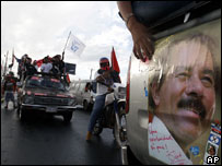 Supporters of Daniel Ortega celebrate in Managua, November 2006