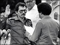 Daniel Ortega, being sworn in as president in 1985