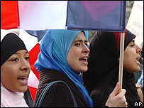 Women protest against a headscarf ban in Paris - 2004
