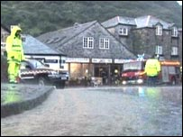 Fire crews on the main street of Boscastle