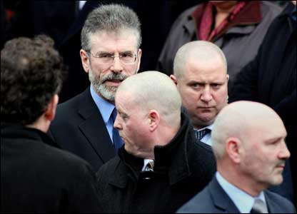 Sinn Fein's Gerry Adams and Alex Maskey attended the service