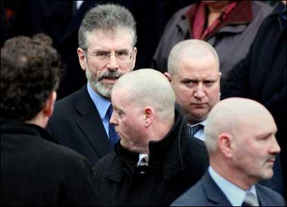 Sinn Fein's Gerry Adams and Alex Maskey attended the service