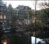 Evening time at Kaisersgracht canal, Amsterdam