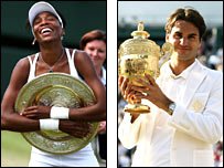 Wimbledon champions Venus Williams (left) and Roger Federer