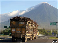 Lorry loaded with sugar cane south of Guatemala City