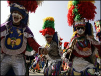 Costumed dancers, Barranquilla, Colombia