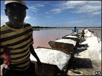 Haitian workers at salt mine, Dominican Republic