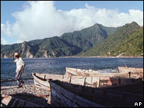 Fisherman and boats, Soufriere Bay, Dominica