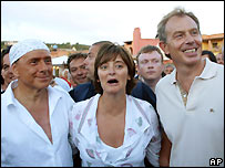 Silvio Berlusconi, Cherie Blair and Tony Blair