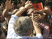 President Bush greets a crowd of Albanians
