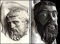 Centaur's head before and after reconstruction (pics: Danish National Museum; British Museum)