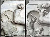 Metope with and without heads