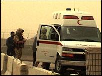Ambulance brings badly burnt woman to the base